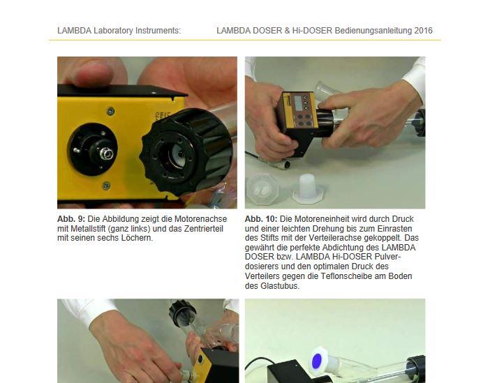 Bedienungsanleitung - Pulverdosiergeräte für Laboratorien